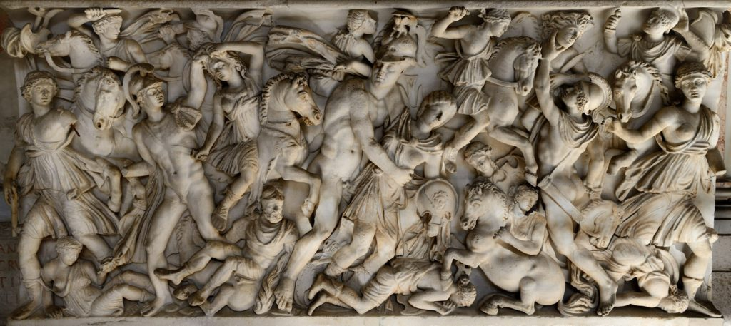 """Front panel of sarcophagus with a relief """"Amazonomachy."""""""