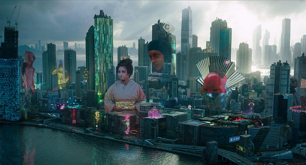 Cityscape from scene in Ghost in the Shell (2017)
