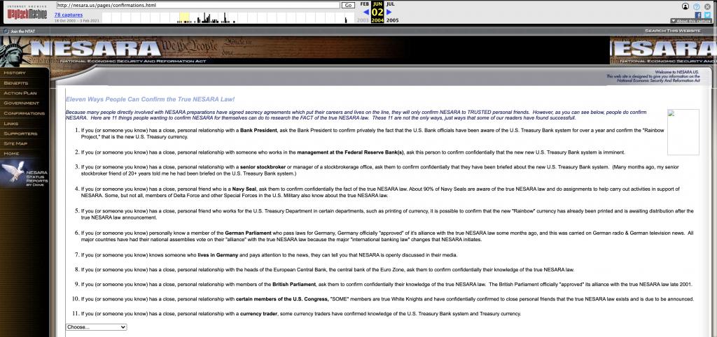 web archive screenshot NESARA